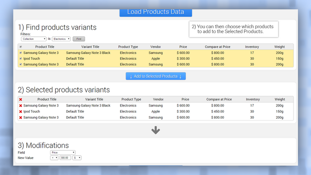 Admin panel step 2, select product variants