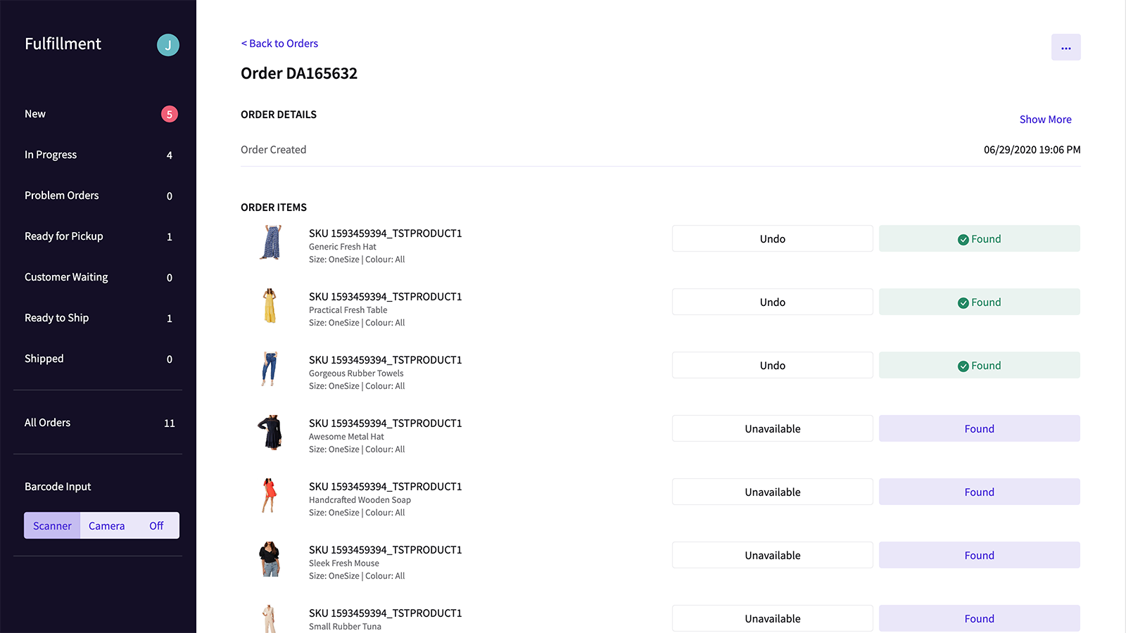 Pick items one by one manually or using a barcode scanner
