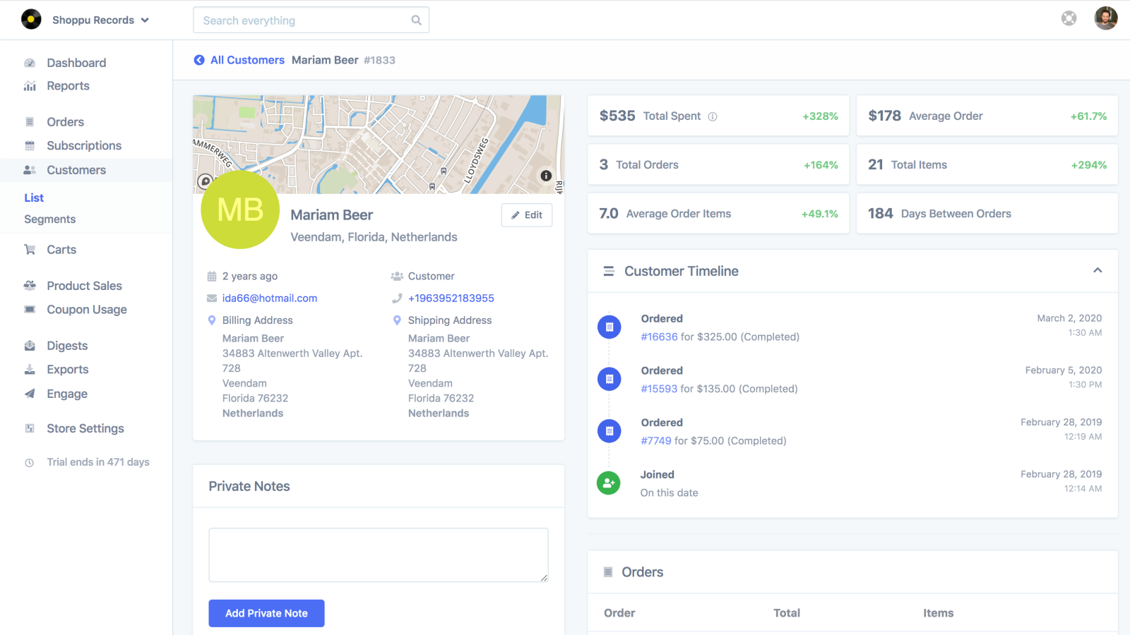 Single customer profile with stats and timeline