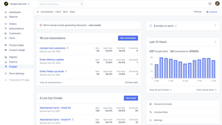 Engage dashboard for viewing active email automations and stats
