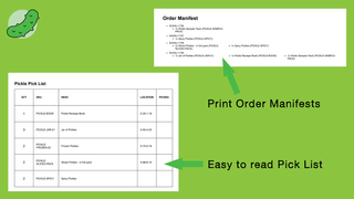 Print easy to read pick list and order manifests