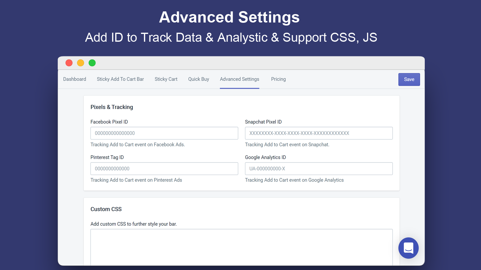 Add ID to Track Data & Analystic & Support CSS, JS