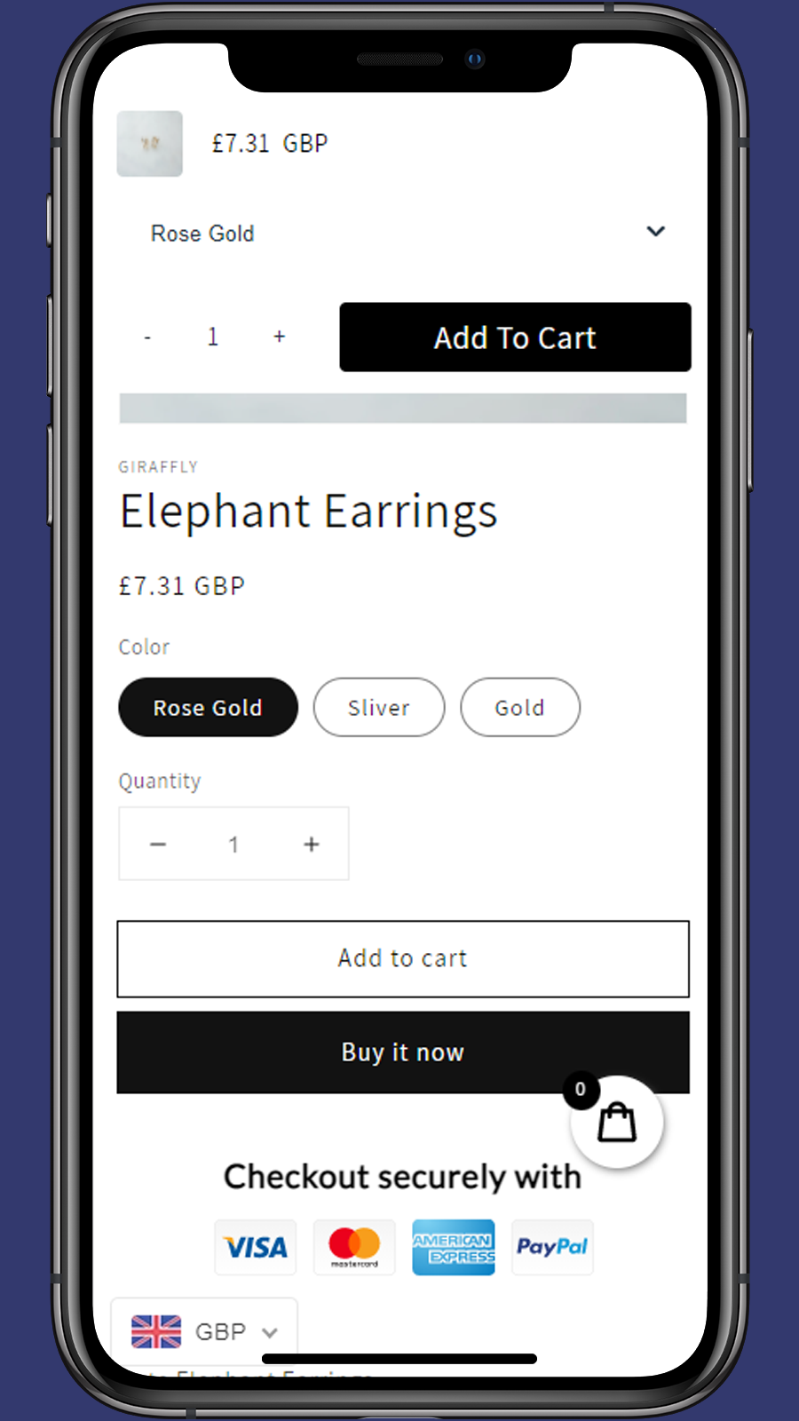 compatible with currency convert app-Giraffly Sticky Cart