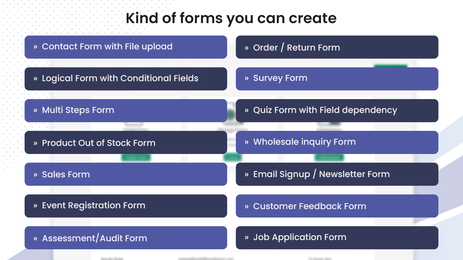 Different form types with form builder app