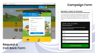 Contact form display on the store