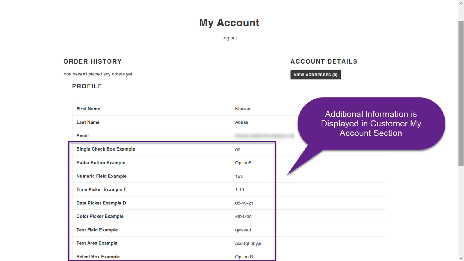 Additional Information is also Displayed in Customer Account Sec