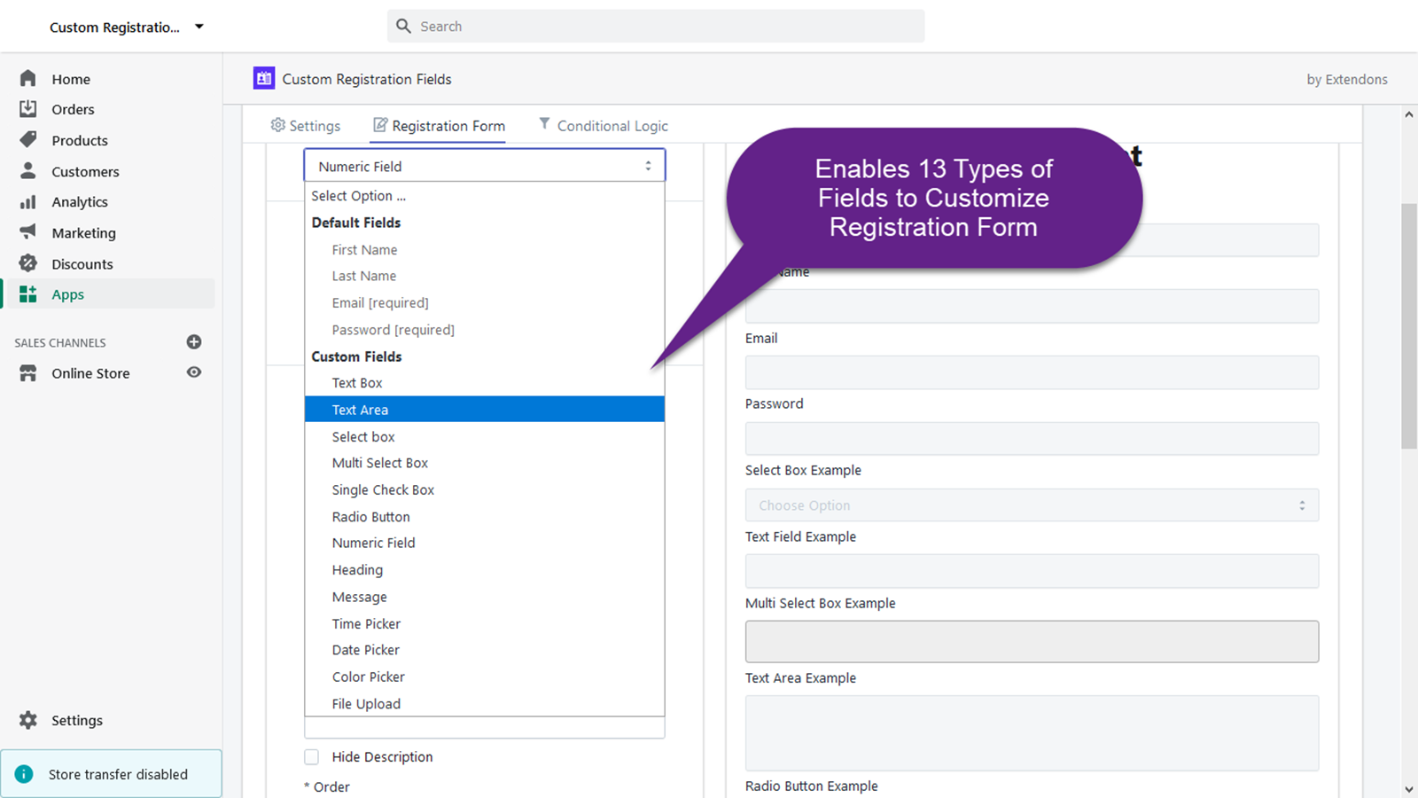 Enables 13 Types of Fields to Customize Registration Form