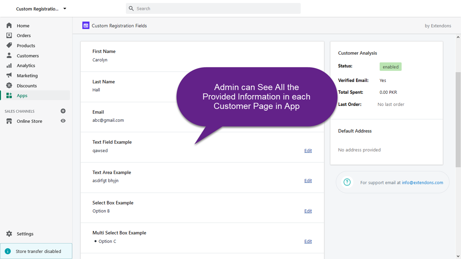 Admin can See All the Provided Information in each Customer Page