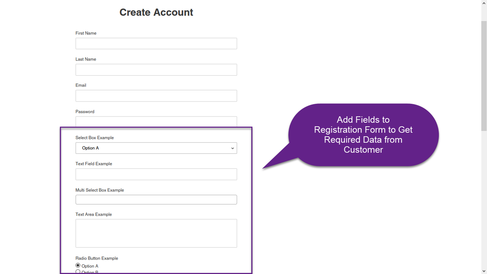 Add Fields to Registration Form to Get Data from Customers