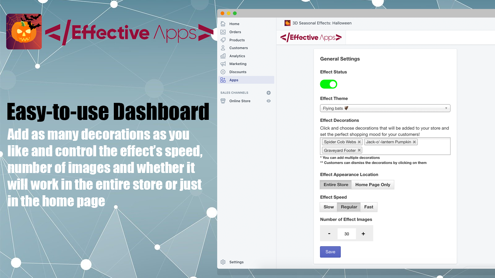 The dashboard of the app
