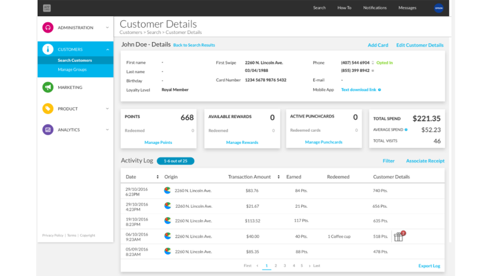 View customer shopping history in the AppCard CMS