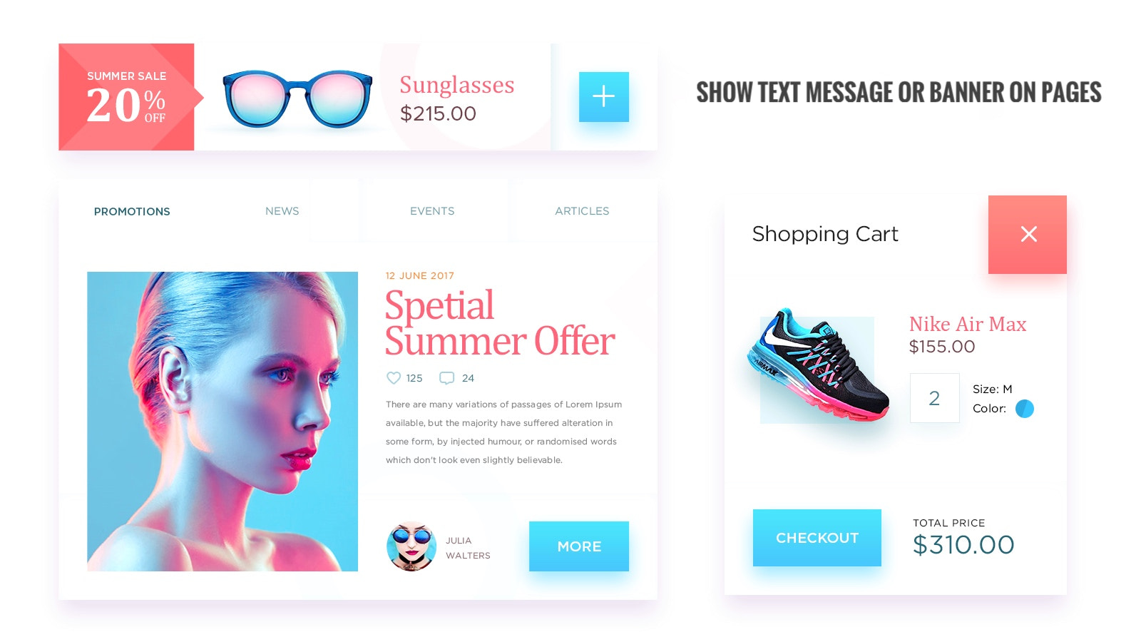 display text message or banner on shopping cart