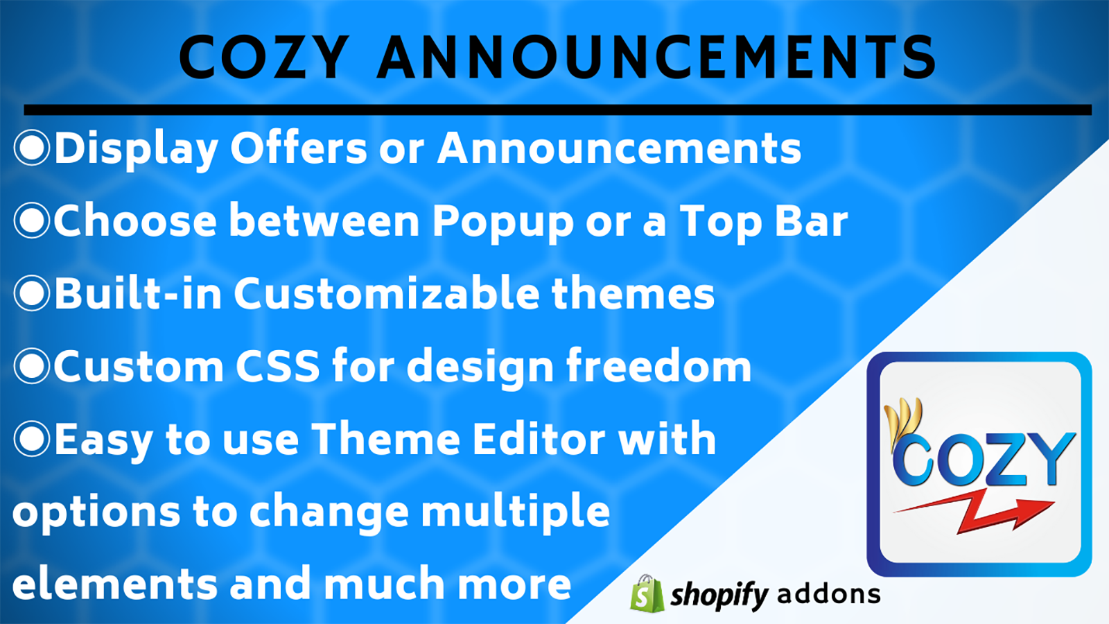 Announcement free shipping bar and popup