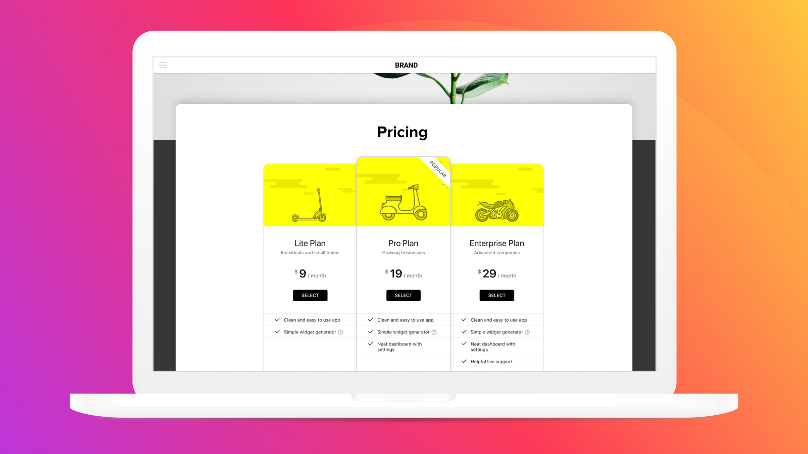 Enjoy the clean pricing design suitable for any website concept
