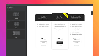 Three predefined layouts for you pricing table