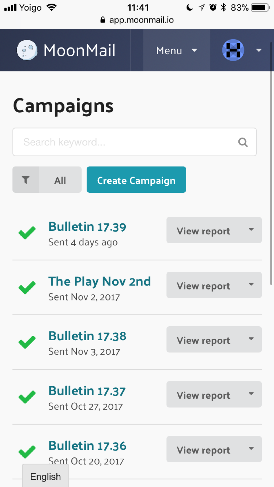 Responsive Dashboard for easy Email Campaign Management