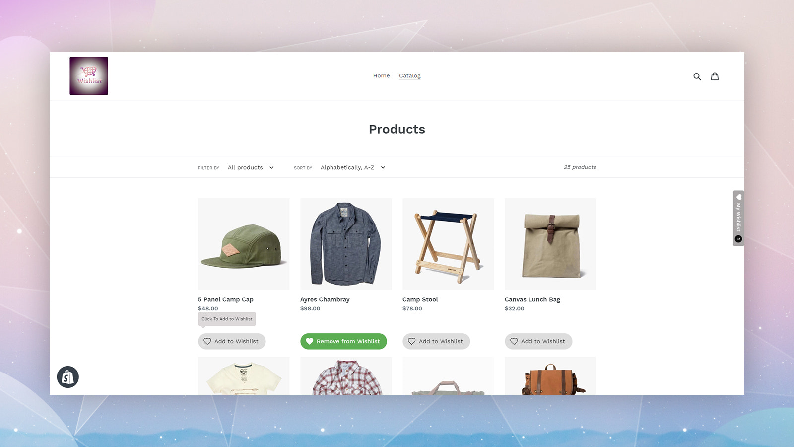 wishlist by appmixo product page