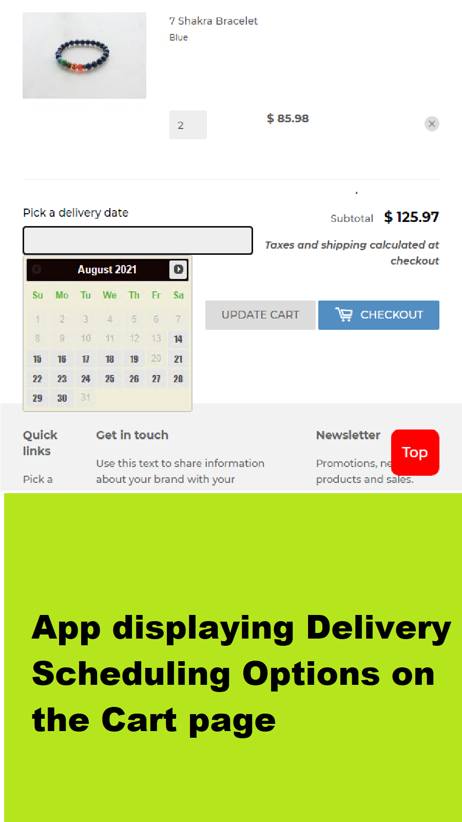 App in Action on Cart page