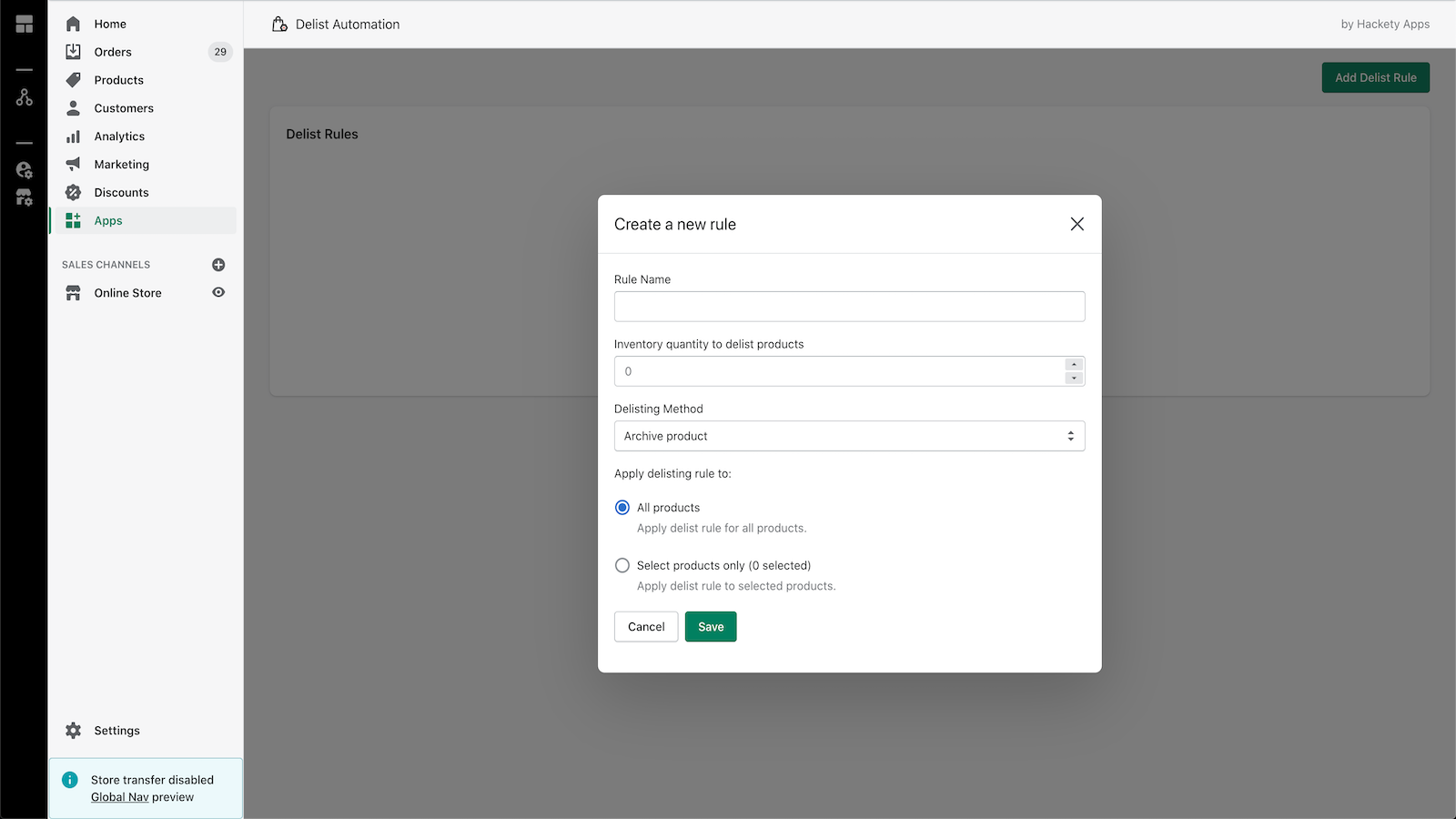 Add a new Delist Automation rule