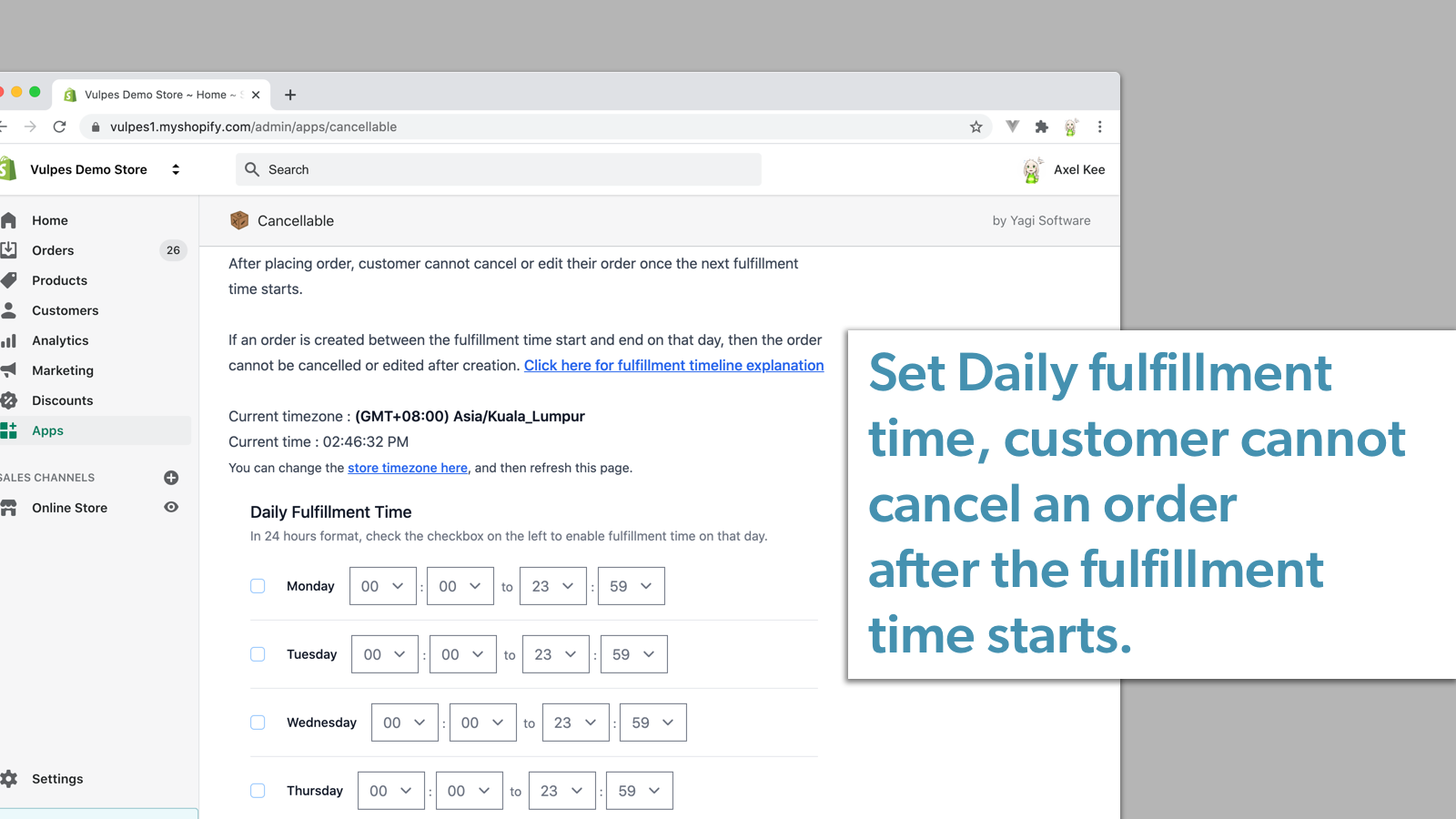 Customizable fulfillment time to disable cancellation