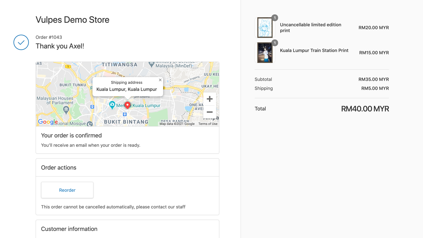 Manually disable customer cancellation on specific orders