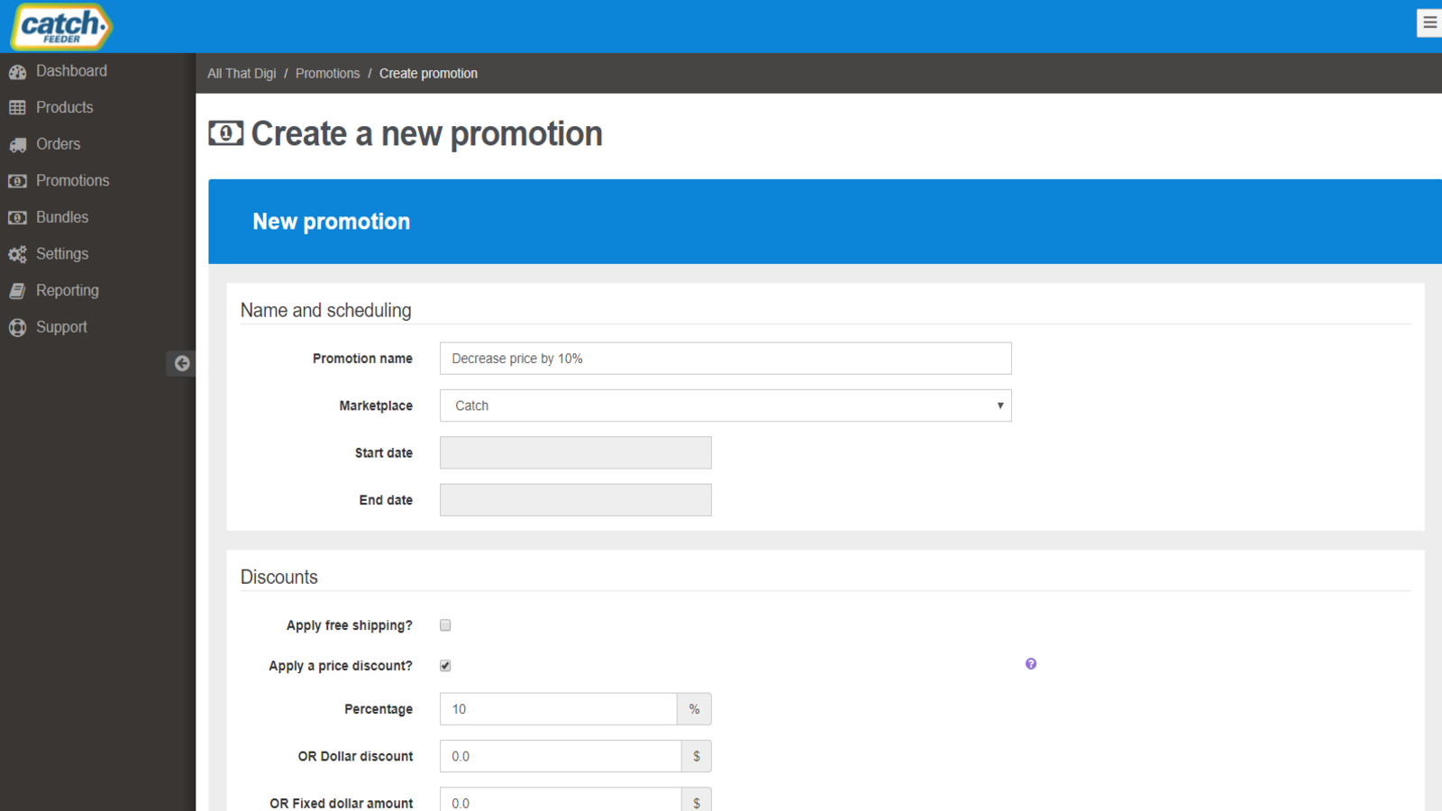 CatchFeeder Create Promotion Pricing
