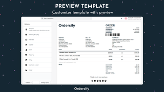 Customize template with preview