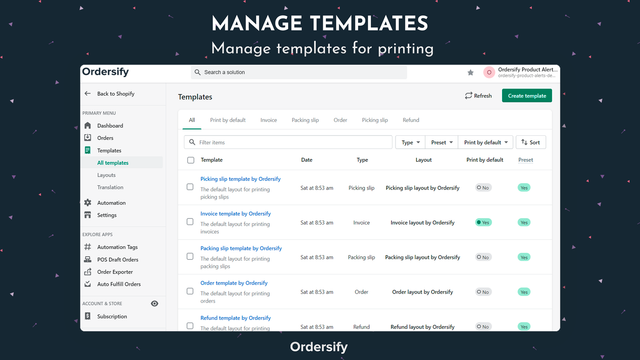 Manage templates for printing