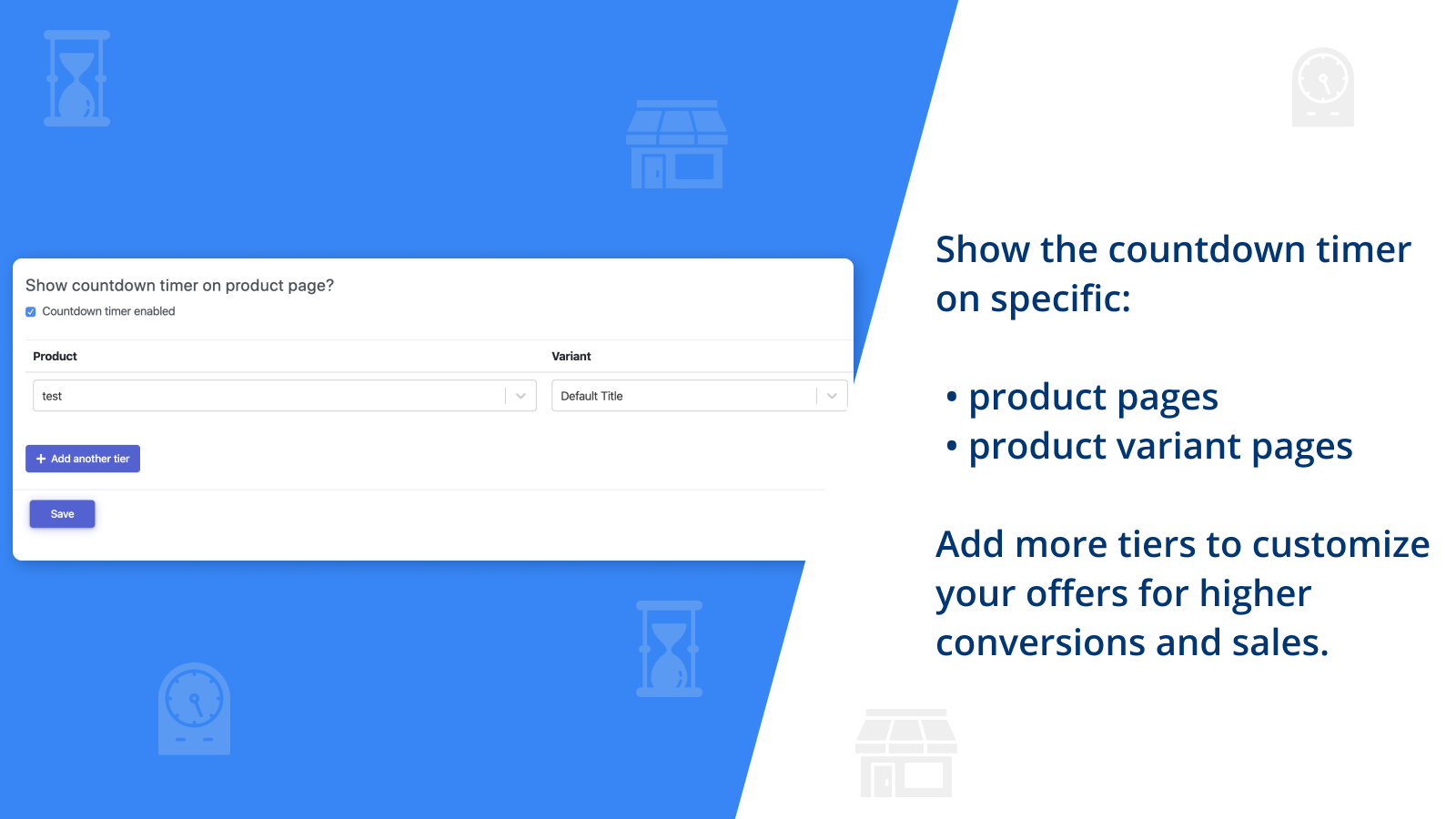 Choose the product page or product variant for countdown timer