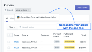 warehouse helper button on orders page screenshot
