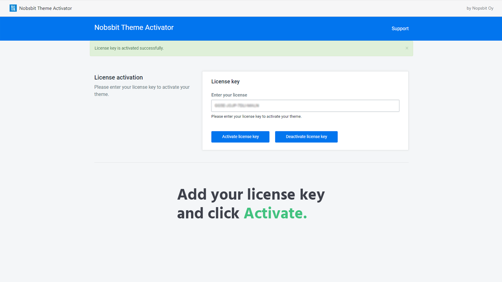 Add your license key and click activate