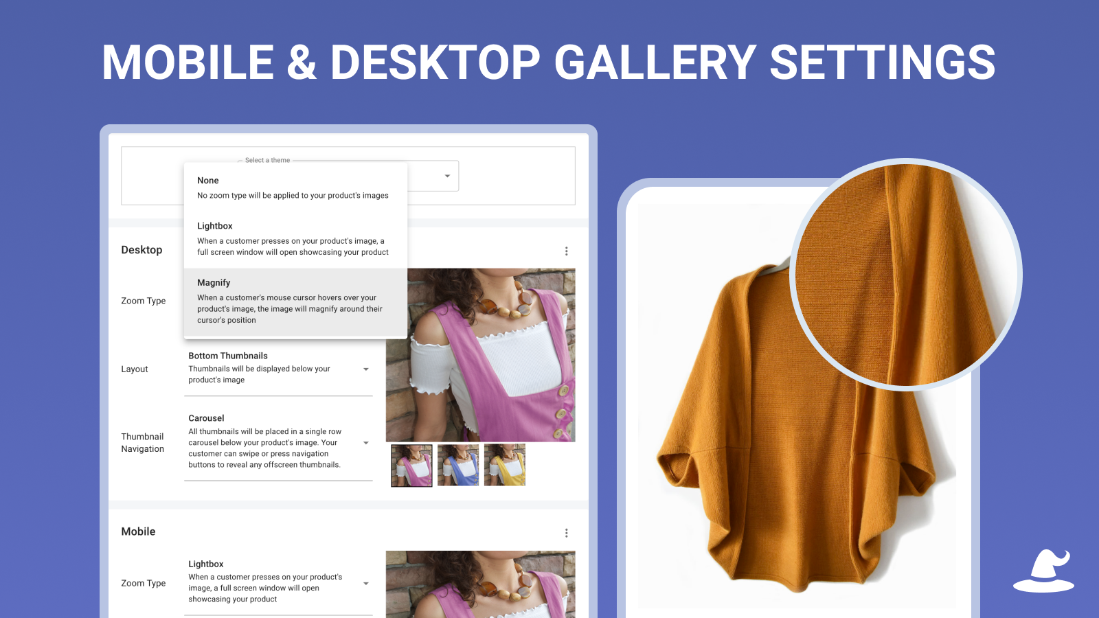Product Image Gallery, Carousel, Thumbnails, and Zoom Settings