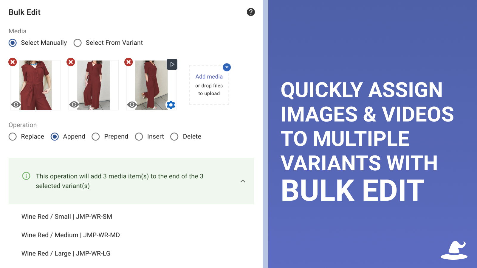 Quickly assign images to multiple variants with Bulk Edit