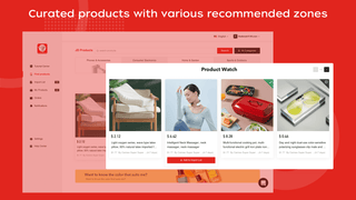Curated products with various recommended zones