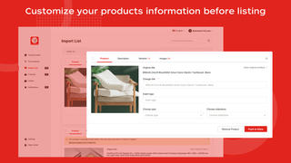 Customize your product information before listing