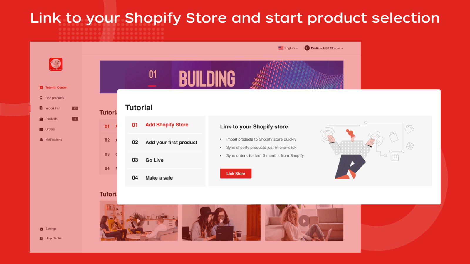 Link to your Shopify Store and start product selection