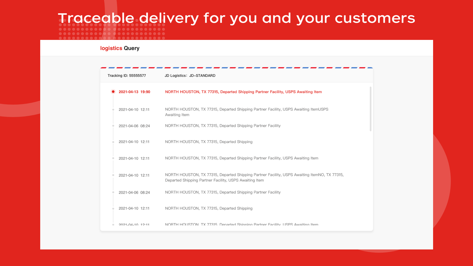 Traceable delivery for you and your customers