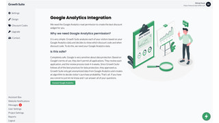 One click connection with Google Analytics.