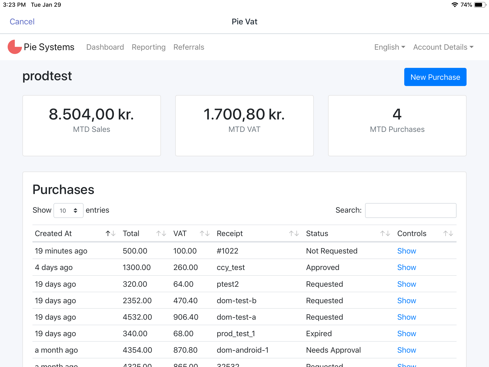Dashboard of refunds