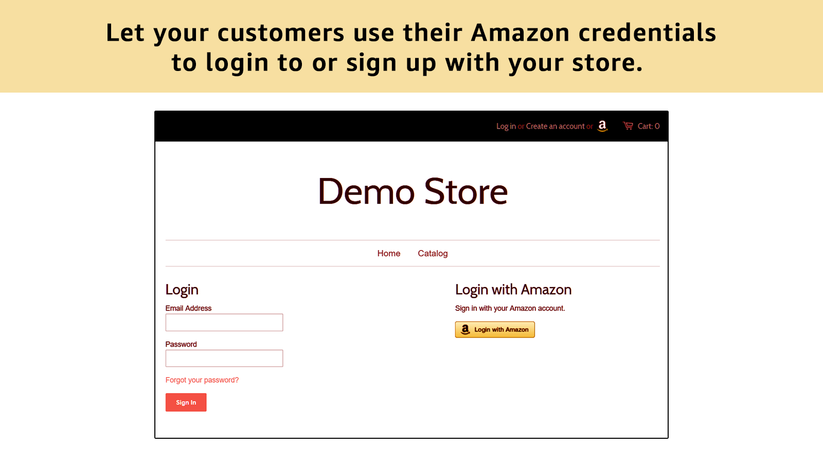 Now you can add an Amazon button for easy login and sign-up.