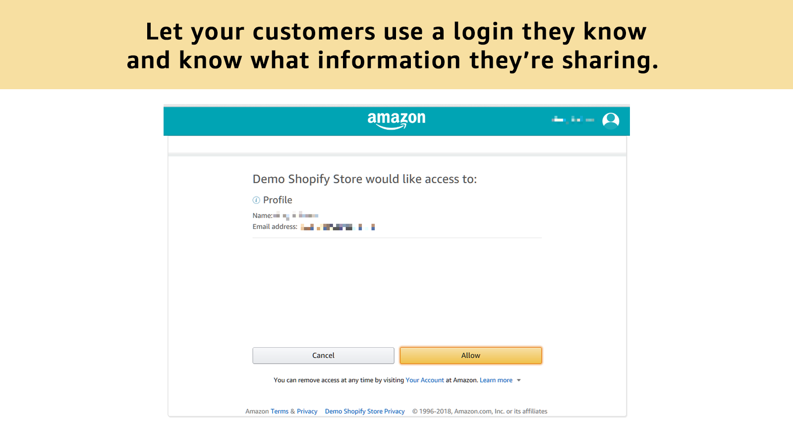 Amazon lets your customers know exactly what they're sharing.