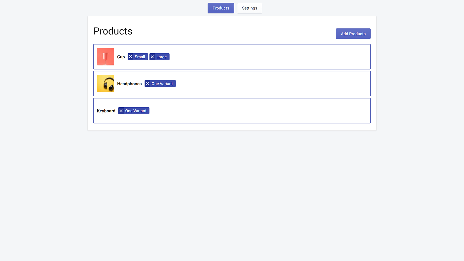Selected products list