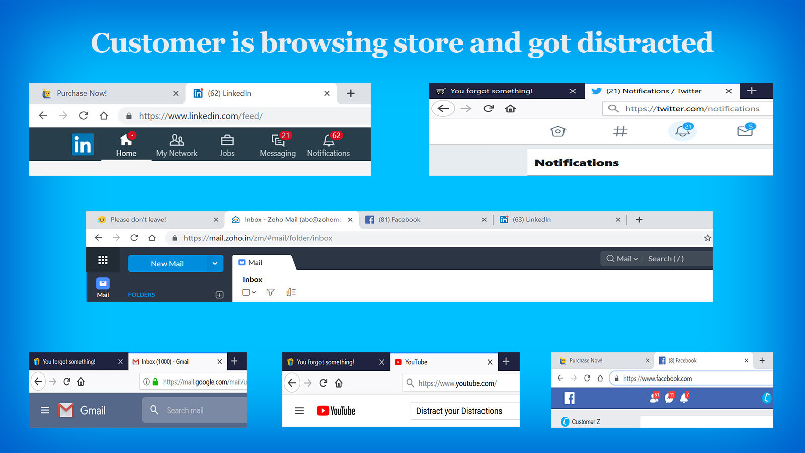 Claim customers from distractions