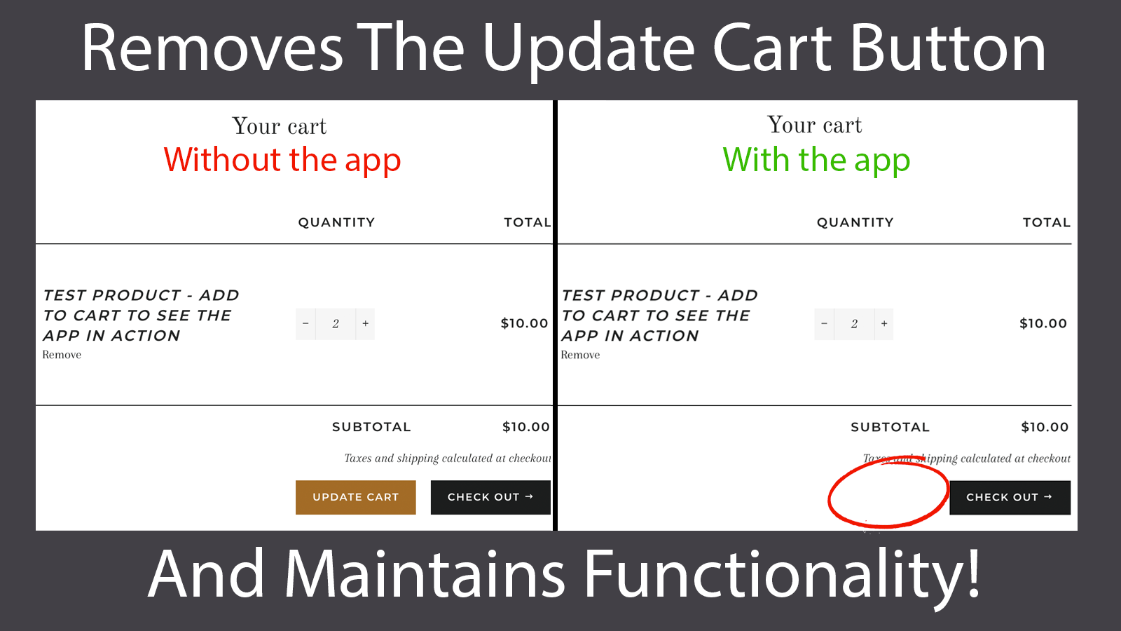 The app removes the 'Update Cart' button in the cart page