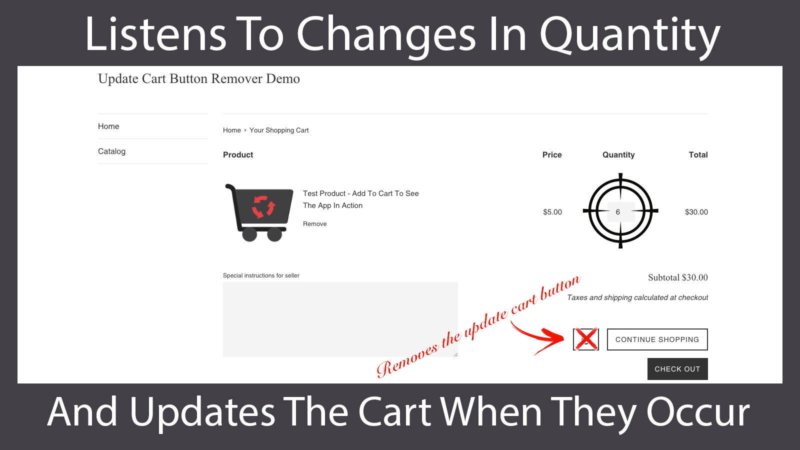 The app automatically detects cart quantity changes and updates