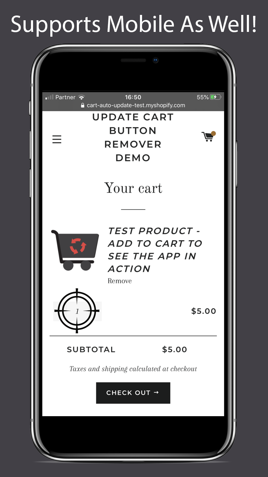 The app supports mobile version of stores as well
