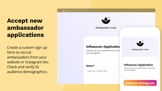 Accept ambassador applications, verify IG audience demographics
