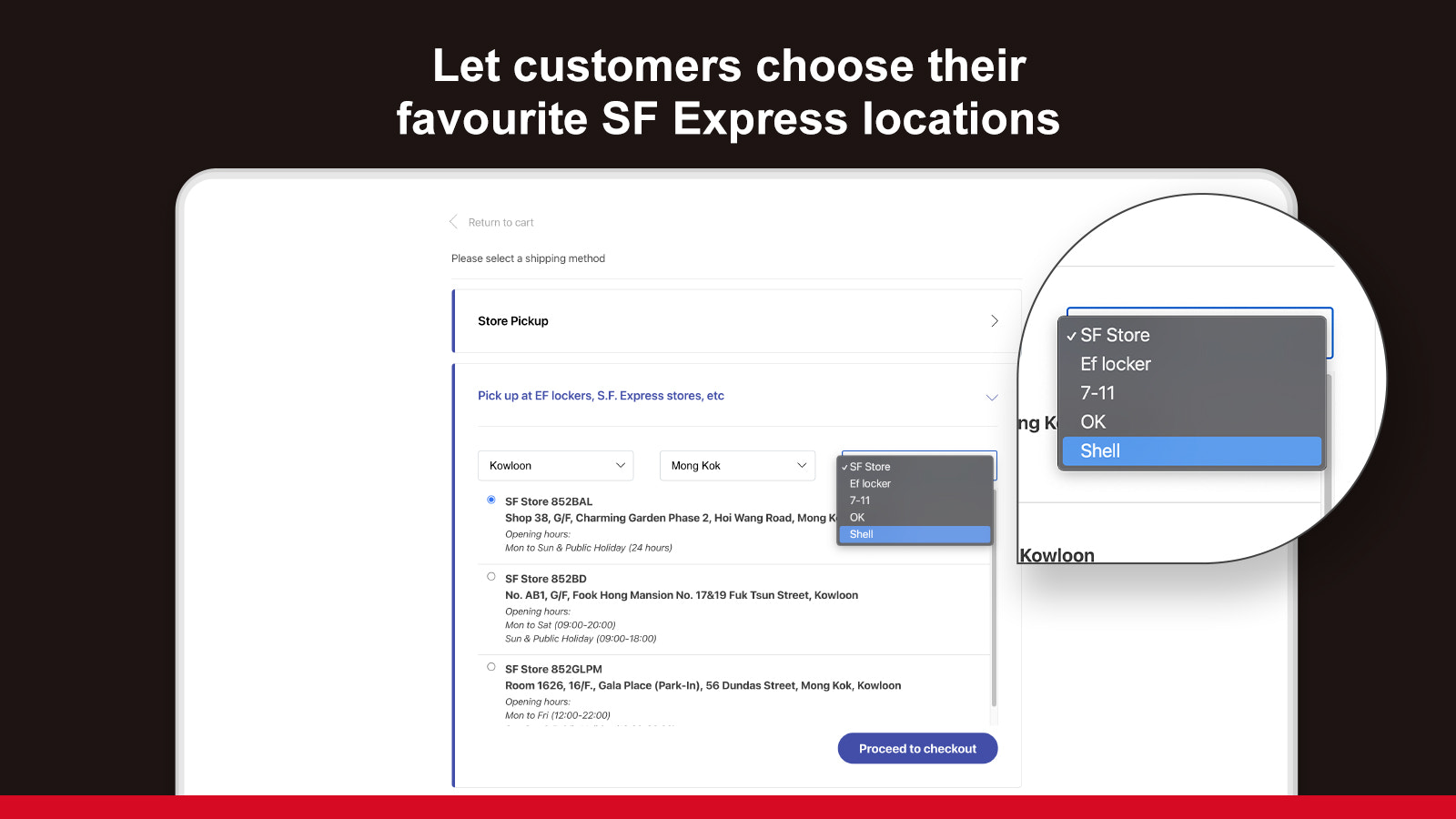 Select service point as pickup location