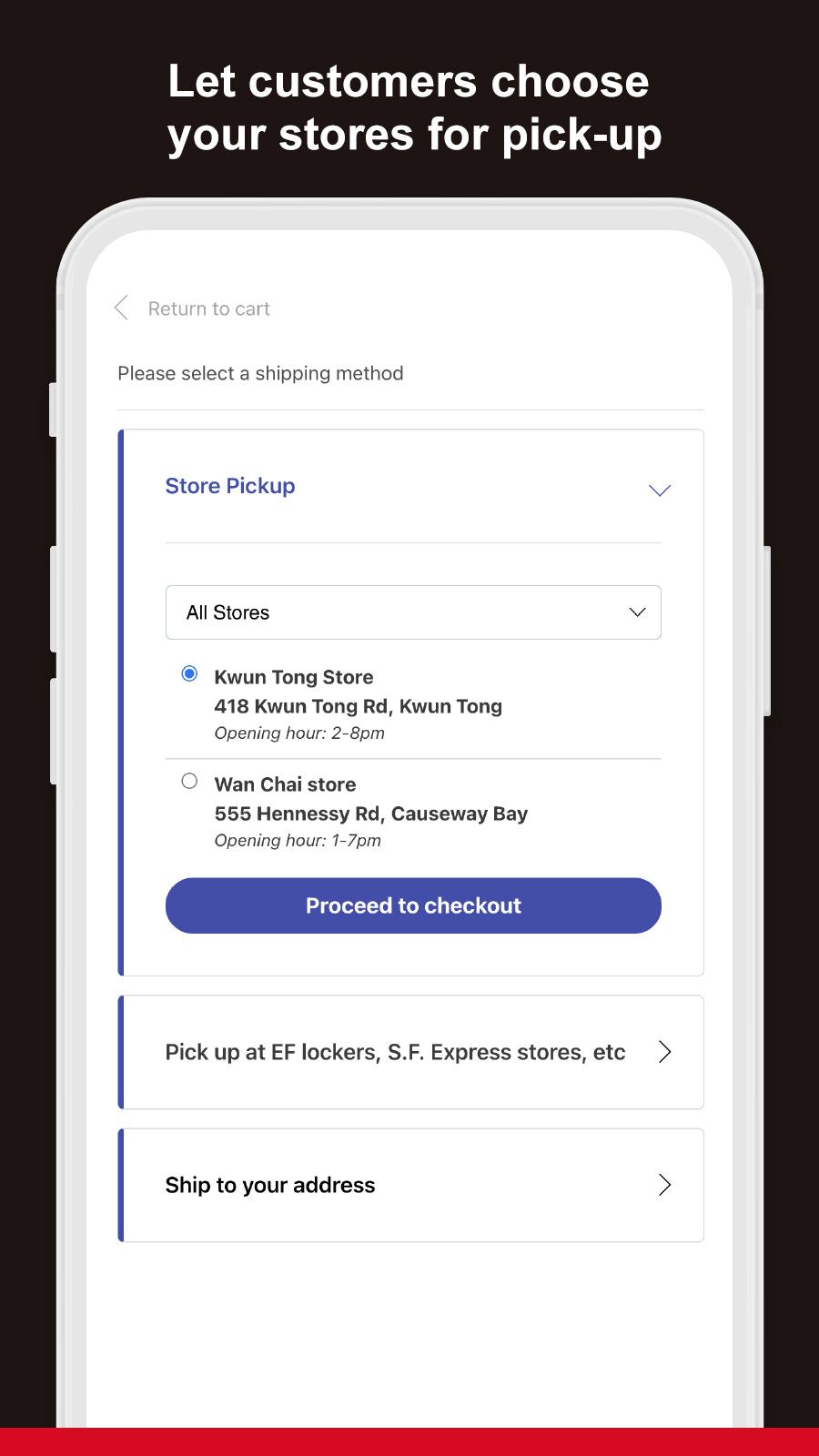 Select your stores as pickup location