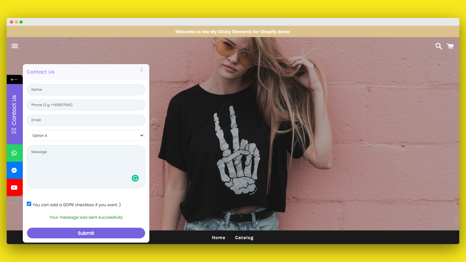 Let your visitors contact you from any page on your store